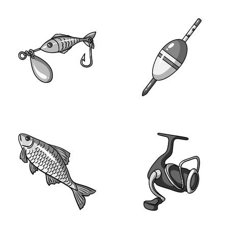Fishing, fish, catch, hook .Fishing set collection icons in monochrome style vector symbol stock illustration web.