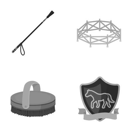 Aviary, whip, emblem, hippodrome .Hippodrome and horse set collection icons in monochrome style vector symbol stock illustration web. Illustration
