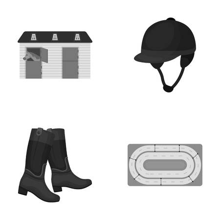 racecourse: Boots, grass, stadium, track, rest .Hippodrome and horse set collection icons in monochrome style vector symbol stock illustration web.
