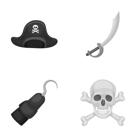 Pirate, bandit, cap, hook .Pirates set collection icons in monochrome style vector symbol stock illustration web.