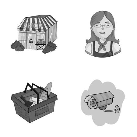 mujer en el supermercado: Salesman, woman, basket, plastic .Supermarket set collection icons in monochrome style vector symbol stock illustration web.