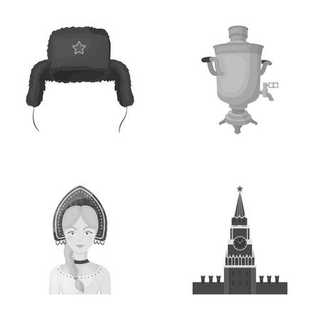 Clothes, woman, kremlin, building .Russia country set collection icons in monochrome style vector symbol stock illustration web. Stock Photo