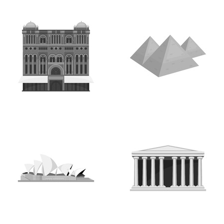 interesting: Building, interesting, place, palace .Countries country set collection icons in monochrome style vector symbol stock illustration web.