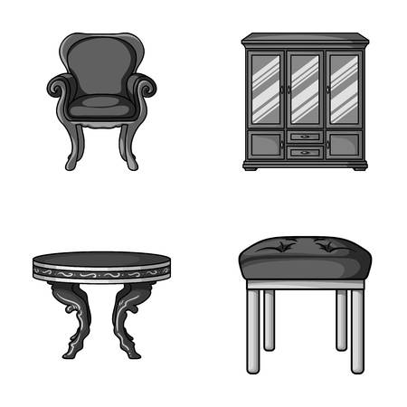 Furniture, interior, design, chair .Furniture and home interiorset collection icons in monochrome style vector symbol stock illustration web. Illustration