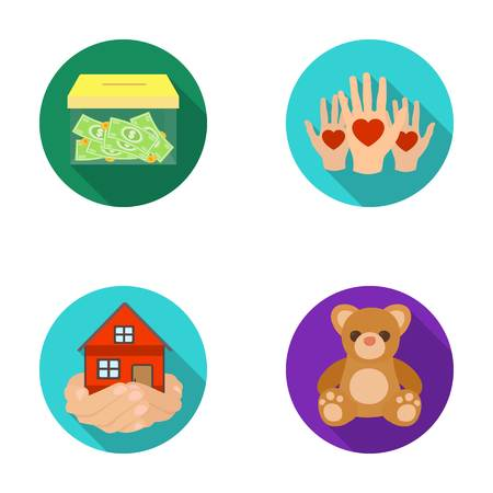patronize: Boxing glass with donations, hands with hearts, house in hands, teddy bear for charity. Charity and donation set collection icons in flat style vector symbol stock illustration web.