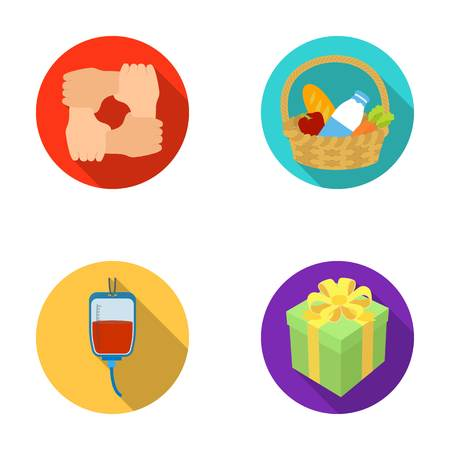 patronize: Gesture of the hands in support, a basket with food for charity, donor blood, a gift donation box. Charity and donation set collection icons in flat style vector symbol stock illustration web.