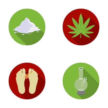 Hemp, cocaine, bong, corpse in the morgue. Drugs set collection icons in flat style vector symbol stock illustration web.