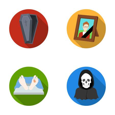 Coffin with a lid and a cross, a photograph of the deceased with a mourning ribbon, a corpse on the table with a tag in the morgue, death in a hood. Funeral ceremony set collection icons in flat style vector symbol stock illustration web. Illustration