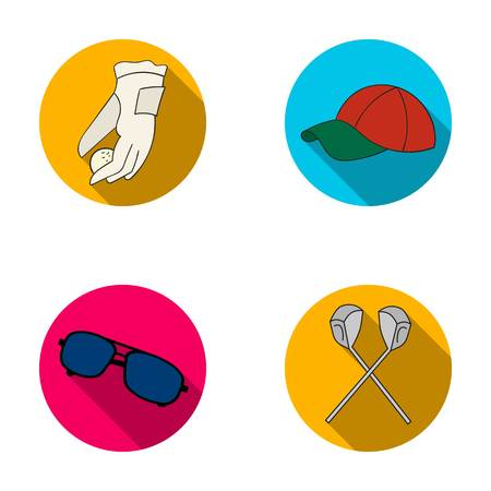 A glove for playing golf with a ball, a red cap, sunglasses, two clubs. Golf Club set collection icons in flat style vector symbol stock illustration web.