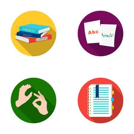 Een stapel boeken in verschillende talen, vellen papier met vertaling, een gebaar van dove moppen, een notitieboekje met tekst. Tolk en vertaler vastgestelde inzamelingspictogrammen in het vlakke Web van de de voorraadillustratie van het stijl vectorsymbool. Stock Illustratie