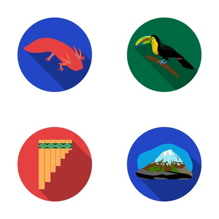 Sampono Mexican musical instrument, a bird with a long beak, Orizaba is the highest mountain in Mexico, axolotl is a rare animal. Mexico country set collection icons in flat style vector symbol stock illustration web.