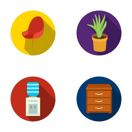 safe water: A red chair with a comfortable back, an aloe flower in a pot, an apparatus with clean water, a cabinet for office papers. Office Furniture set collection icons in flat style vector symbol stock illustration web. Illustration