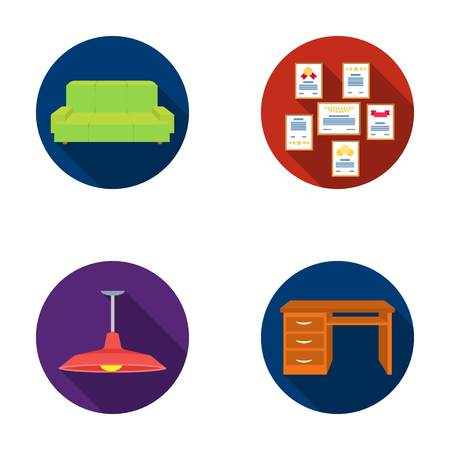 Comfortable sofa, letters and diplomas within the framework, an office ceiling lamp, a desk. Office Furniture set collection icons in flat style vector symbol stock illustration web.