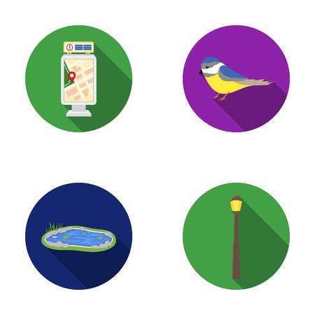 titmouse: Territory plan, bird, lake, lighting pole. Park set collection icons in flat style vector symbol stock illustration web. Illustration