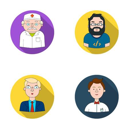 gastronome: Doctor in a dressing-gown with a red cross on his head, a hacker with a beard in a T-shirt and glasses, a businessman in a tie, a waiter in a gastronome, a butterfly. People of different professions set collection icons in flat style vector symbol stock i Illustration