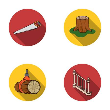 A hacksaw, a stump, a staircase with handrails, a beam. A sawmill and timber set collection icons in flat style vector symbol stock illustration web. Illustration