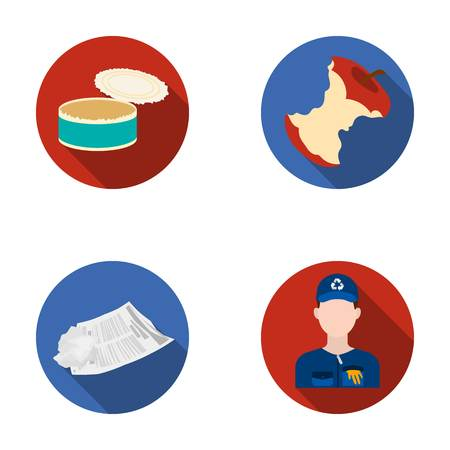 old newspaper: Can used used pot, apple stub, old dirty and wrinkled newspaper, the man who takes out the garbage.Garbage and trash set collection icons in flat style vector symbol stock illustration web.