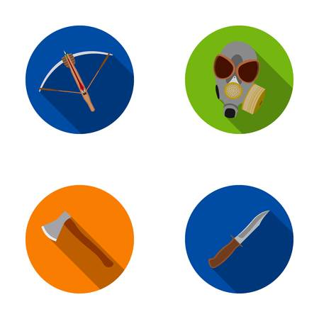 Crossbow, gas mask, ax, combat knife. Weapons set collection icons in flat style vector symbol stock illustration web.