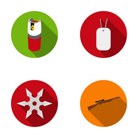 self  defense: A gas cylinder, a soldiers token, a sniper rifle, a shuriken. Weapons set collection icons in flat style vector symbol stock illustration web. Illustration