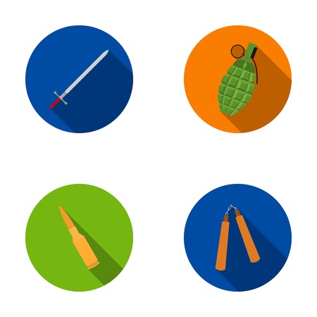 self  defense: Sword, hand grenade, cartridge, nunchaki. Weapons set collection icons in flat style vector symbol stock illustration web.