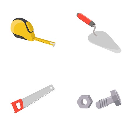 Measuring tape, bolt with nut, trowel, wood hacksaw. Build and repair set collection icons in cartoon style vector symbol stock illustration web.