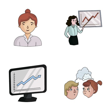 Businesswoman, growth charts, brainstorming.Business-conference and negotiations set collection icons in cartoon style vector symbol stock illustration web. Иллюстрация