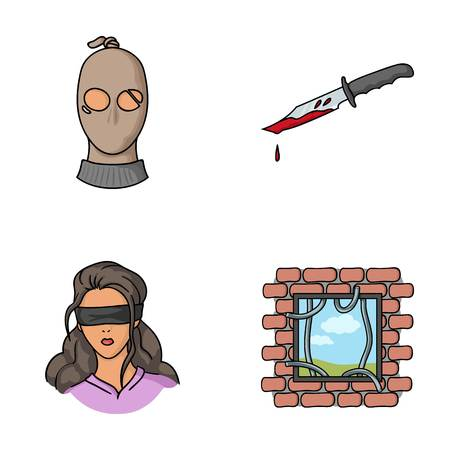 A thief in a mask, a bloody knife, a hostage, an escape from prison.Crime set collection icons in cartoon style vector symbol stock illustration web. Illustration