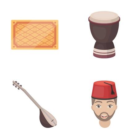 saz: Turkish carpet, saz, drum, turkish men.Turkey set collection icons in cartoon style vector symbol stock illustration web.