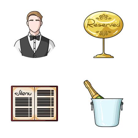 Waiter, reserve sign, menu, champagne in an ice bucket.Restaurant set collection icons in cartoon style vector symbol stock illustration web. Illustration