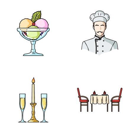 Ice cream with fruit, chef, candle and glasses, a covered table.Restaurant set collection icons in cartoon style vector symbol stock illustration web. Illustration