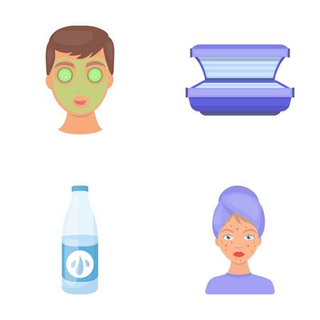 Face mask, solarium, bottle ts lasenom, pimples on face. Skin Care set collection icons in cartoon style vector symbol stock illustration web. Illustration