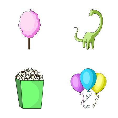Sweet cotton wool on a stick, a toy dragon, popcorn in a box, colorful balloons on a string. Amusement park set collection icons in cartoon style vector symbol stock illustration web.