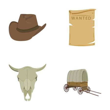 カウボーイ ハットが検索、カート、牛の頭蓋骨。野生の西は、漫画スタイルのベクトル シンボル ストック イラスト web のコレクションのアイコン