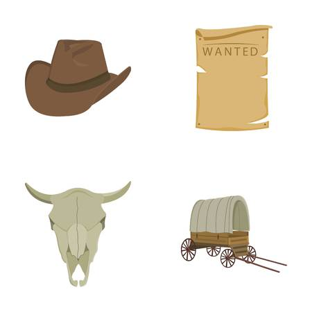 Cowboy hat, is searched, cart, bulls skull. Wild West set collection icons in cartoon style vector symbol stock illustration web.