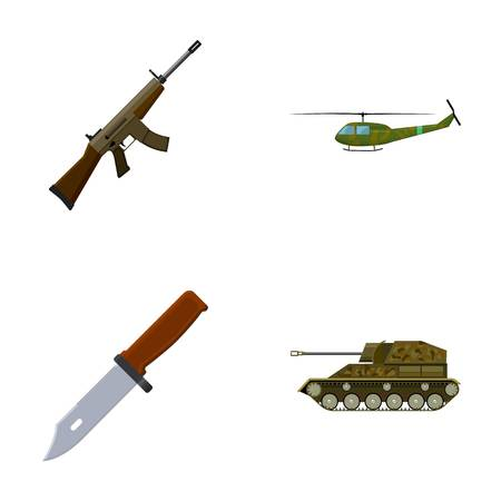Assault rifle M16, helicopter, tank, combat knife. Military and army set collection icons in cartoon style vector symbol stock illustration web.