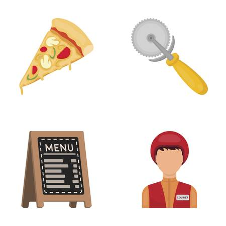 pizza cutter: A pizza cutter, a slice, a menu in a pizzeria, a courier. Pizza and pizzeria set collection icons in cartoon style vector symbol stock illustration web.