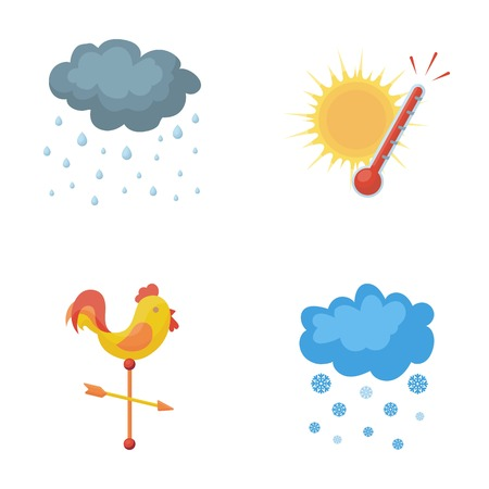 Rain, snow, heat, weathervane. The weather set collection icons in cartoon style vector symbol stock illustration web.