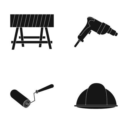 A barrier on the construction site, an electric drill, a roller for painting and a helmet. Build and repair set collection icons in black style vector symbol stock illustration web.