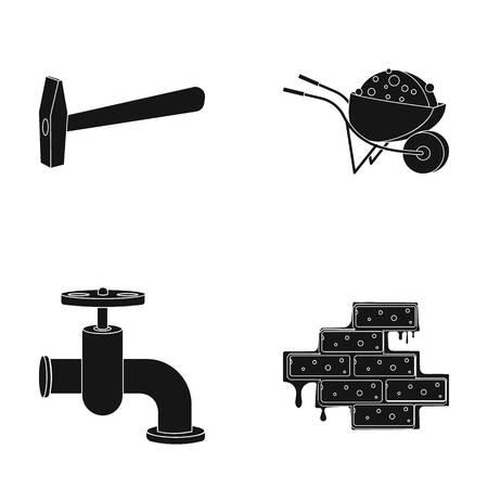 Martillo, carretilla con carga, grifo de agua, ladrillo. Construya y repare los iconos de la colección del sistema en web negra del ejemplo de la acción del símbolo del vector del estilo.