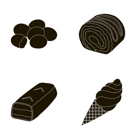 Dragee, roll, chocolate bar, ice cream. Chocolate desserts set collection icons in black style vector symbol stock illustration web.