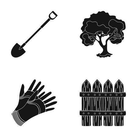 A shovel with a handle, a tree in the garden, gloves for working on a farm, a wooden fence. Farm and gardening set collection icons in black style vector symbol stock illustration web.