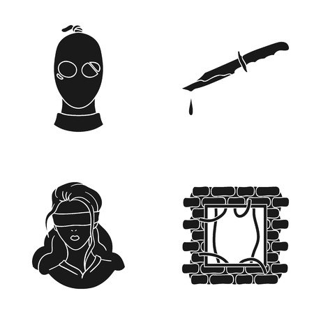 A thief in a mask, a bloody knife, a hostage, an escape from prison.Crime set collection icons in black style vector symbol stock illustration web.