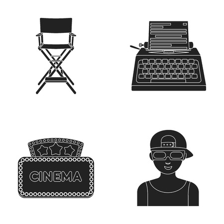Stoel van de regisseur, schrijfmachine, cinematografisch bord, filmman. Films en bioscoop set verzameling iconen in zwarte stijl vector symbool stock illustratie web.