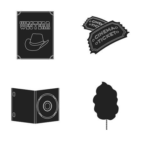 Westerse cinema, tickets, zoete watten, film op DVD. FILM en cinema set collectie iconen in zwart stijl vector symbool stock web. Stock Illustratie