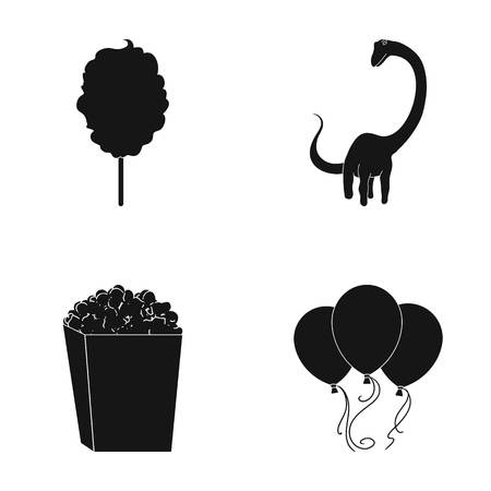 Sweet cotton wool on a stick, a toy dragon, popcorn in a box, colorful balloons on a string. Amusement park set collection icons in black style vector symbol stock illustration web.