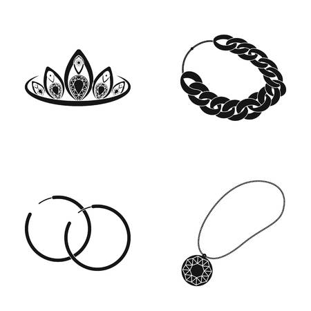 earrings: Tiara, gold chain, earrings, pendant with a stone. Jewelery and accessories set collection icons in black style vector symbol stock illustration web.