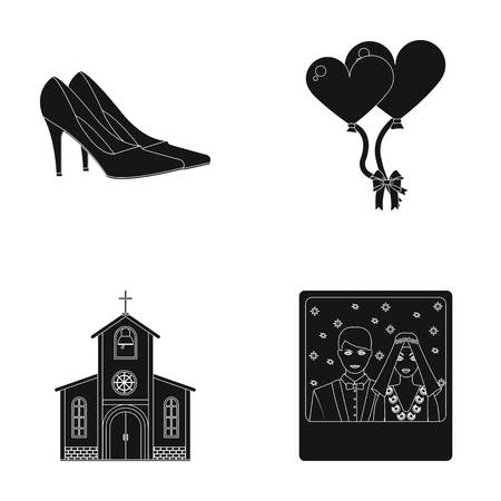 Elegant wedding shoes with heels, balloons for the ceremony, a church with a stained-glass window and a bell, a picture of the bride and groom.
