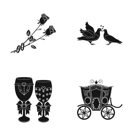 Two red roses with rings, pigeons kissing with hearts, wedding glasses with bows and champagne, a carriage for a festive ceremony. Wedding set collection icons in black style vector symbol stock illustration web.