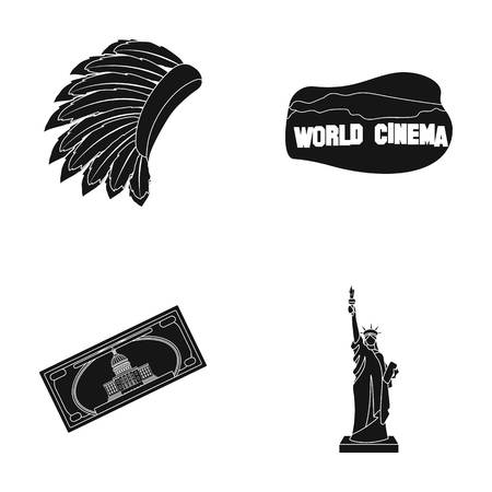 Mohavk, world cinema, dollar, a statue of liberty.USA country set collection icons in black style vector symbol stock illustration web.