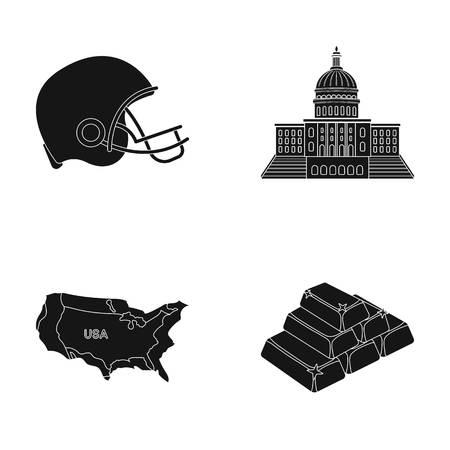 サッカー選手のヘルメット、議会議事堂、区域の地図、金、外国為替。アメリカ国は、ブラック スタイル ベクトル シンボル ストック イラスト web   イラスト・ベクター素材